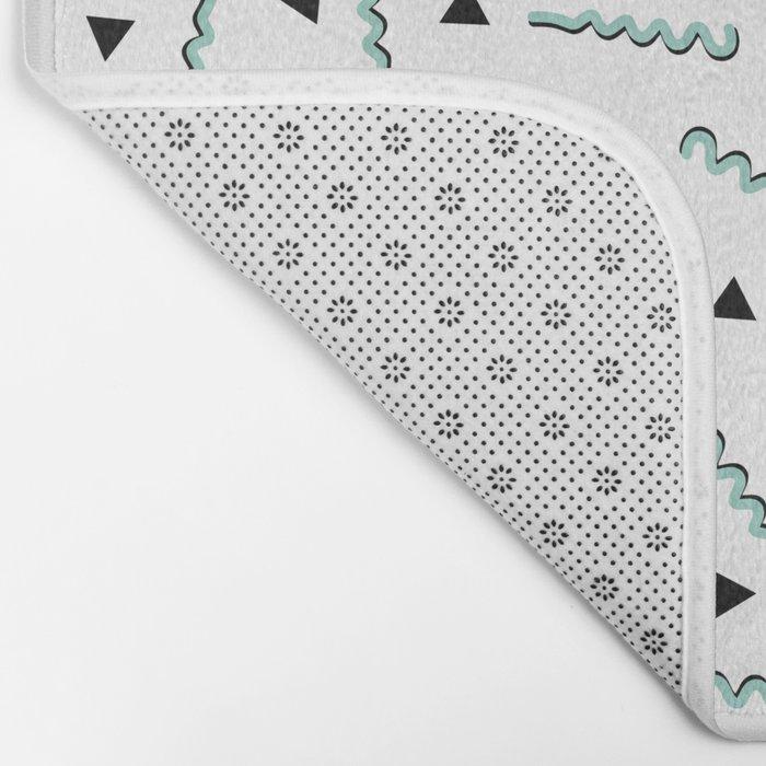 Retro Memphis Pattern Squiggle Green and Black Triangles Bath Mat