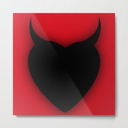 Heart Series Love Black Devil Horns Heart Evil Valentine Gift Metal Print