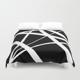 Geometric Line Abstract - Black White Duvet Cover