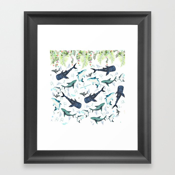 floral shark pattern Gerahmter Kunstdruck