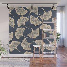 Ginkgo leaves / Elegant / Blue and gold Wall Mural