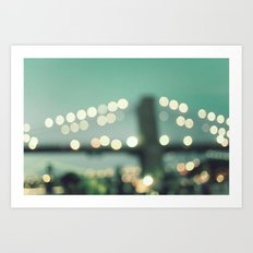 New York, Brooklyn bridge magical lights Art Print