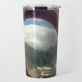 A town within a Bubble Travel Mug