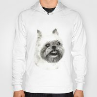 brussels Hoodies featuring Brussels Griffon Drawing by Danguole Serstinskaja