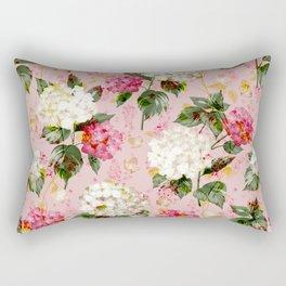 Vintage green pink white bohemian hortensia flowers Rectangular Pillow
