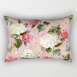 Vintage green pink white bohemian hortensia flowers Rectangular Pillow