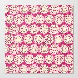flower block ivory pink Canvas Print