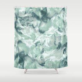 Marble Mist Green Grey Shower Curtain