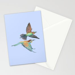 Bee-eaters flying - Merops apiaster Illustration Stationery Cards