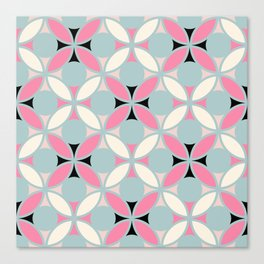 Geometric Floral Circles In Pink Green Cream & Black Canvas Print