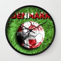 denmark Wall Clocks featuring Old football (Denmark) by seb mcnulty