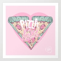 loll3 Art Prints featuring Pizza Lover by lOll3