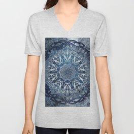 Indigo Nouveau Shibori Mandala Unisex V-Neck