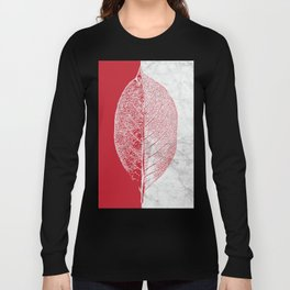 Natural Outlines - Leaf Red & White Marble #930 Long Sleeve T-shirt
