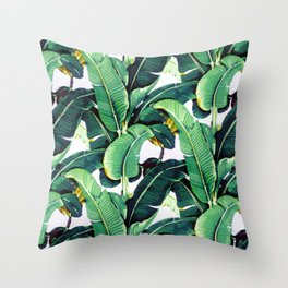 Tropical Banana leaves pattern Throw Pillow