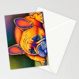 Colorful French Bulldog Rainbow Dog Pet Portrait Stationery Cards