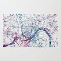 cincinnati Area & Throw Rugs featuring Cincinnati map by MapMapMaps.Watercolors