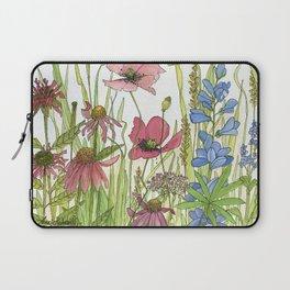 Red Poppy Wildflowers Watercolor Ink  Laptop Sleeve