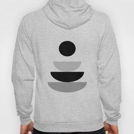 Sitting - Zen Abstract - Black White Grey Hoody
