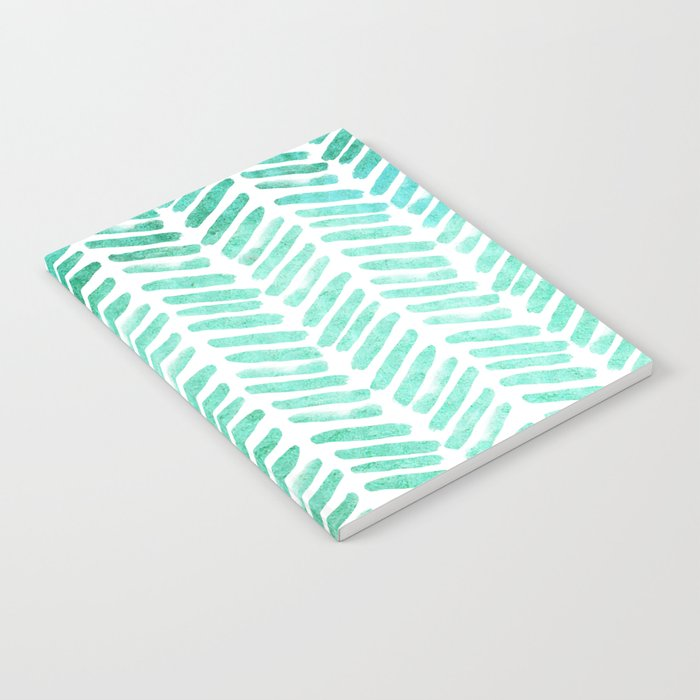 Handpainted Chevron pattern - light green and aqua - stripes #Society6 Notebook