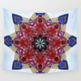 Red and blue classic trucks kaleidoscope Wall Tapestry