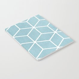 Light Blue and White - Geometric Textured Cube Design Notebook