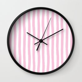 Pink and White Cabana Stripes Palm Beach Preppy Wall Clock