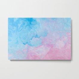 Blue Pink Marble Metal Print