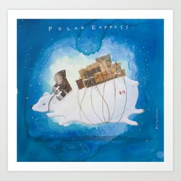 Big Polar Bear delivers gift packages like a Courier - Painting by Lisa Rotenberg Art Print