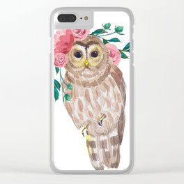 Owl with flower crown Clear iPhone Case