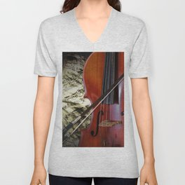 Cello with Bow a Stringed Instrument with Classical Sheet Music Unisex V-Neck