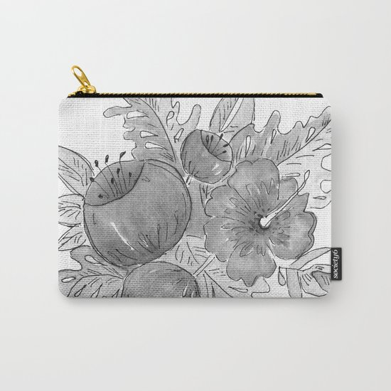 Tropical exotic flowers and leaves . Carry-All Pouch