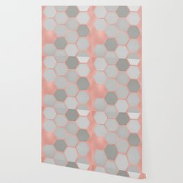 Honeycomb on Rose Gold Wallpaper