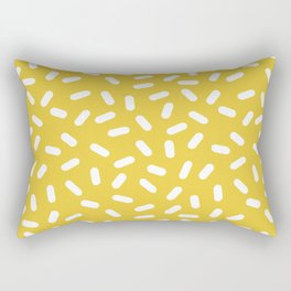 Somethin' Somethin' - yellow bright happy sprinkles pills dash pattern rad minimal prints Rectangular Pillow
