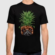 Pineapple Pug Black LARGE Mens Fitted Tee
