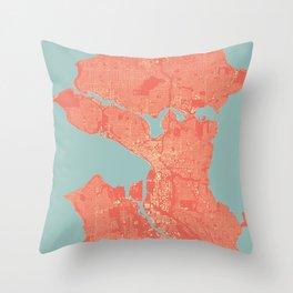 Seattle, Washington City Map, Colorful Throw Pillow