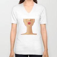 kiss V-neck T-shirts featuring Kiss by rusanovska