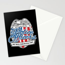 Patriotic Police Officer American Flag Stationery Cards