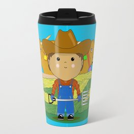 Rancher Dude With Cattle (Kawaii Style) Travel Mug