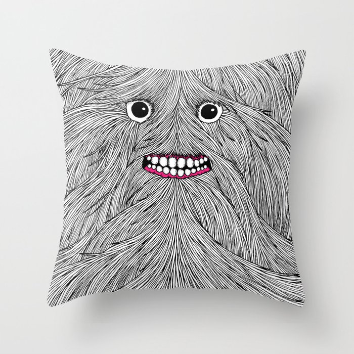 Hairy Guy BW Throw Pillow