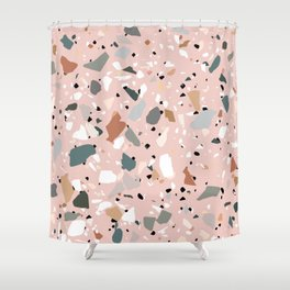pale pink terrazzo with neutral flecks Shower Curtain