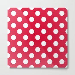 Crimson - fuchsia - White Polka Dots - Pois Pattern Metal Print