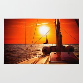 Yacht at Sunset Rug