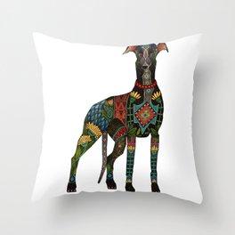 greyhound white Throw Pillow
