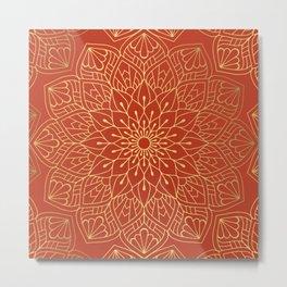 Gold Mandala Pattern On Red Metal Print