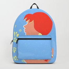 A redhead girl with a braid and a bow Backpack