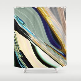 Wave Blue Shower Curtain