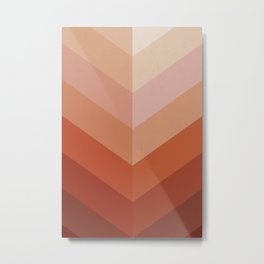Chevron Geometry 3. Terracotta Metal Print