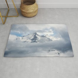 Eiger Mountain in Clouds Rug