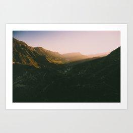 Sunset overt the mountains Art Print